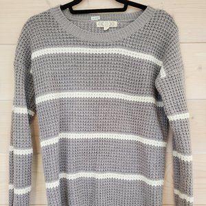 Striped crew neck waffle knit sweater - like new!